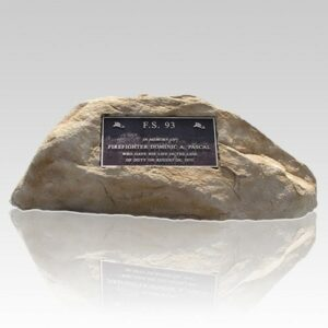 Memorial rocks are made of materials that simulate the look and feel of real rocks and trees